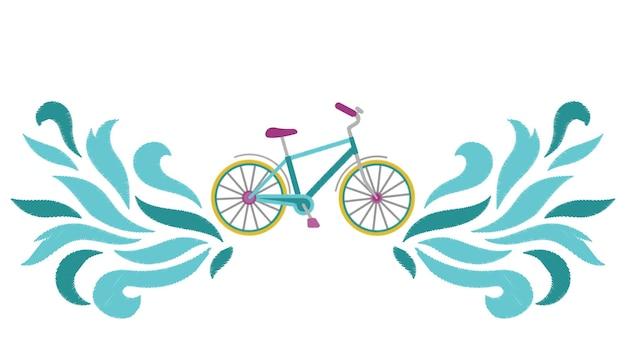 Схема вышивки велосипеда экологическое транспортное рукоделие с абстрактными волнами
