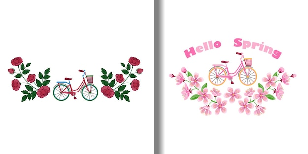 Bike and flowers embroidery patterns set woman romantic compositions textile and t shirt prints