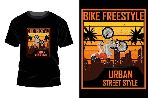 バイクフリースタイルアーバンストリートスタイルtシャツモックアップデザインヴィンテージレトロ