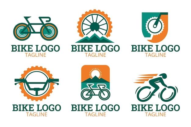 フラットなデザインの自転車のロゴコレクション