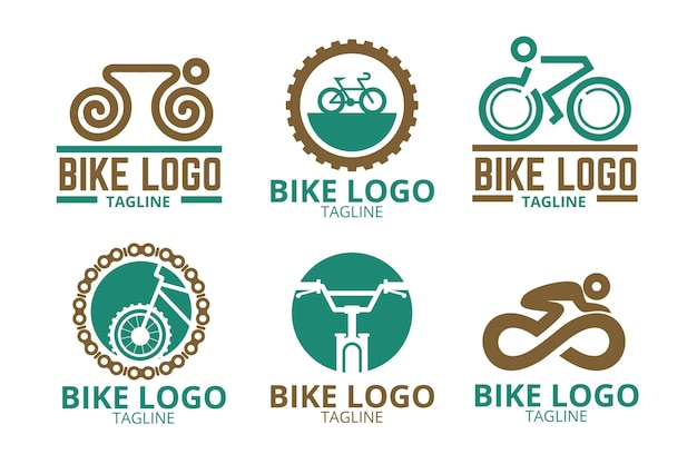 Коллекция логотипов для велосипедов в плоском дизайне