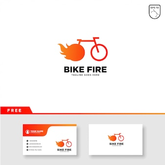 Bike logo with fire and business card template