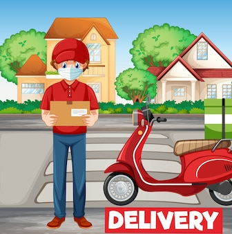 Bike man or courier delivering a package