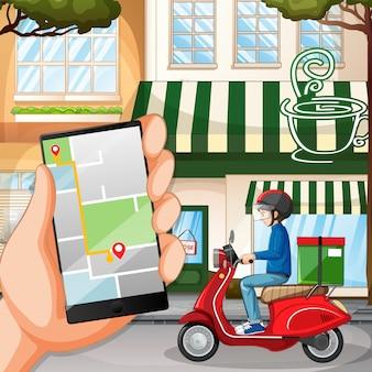 自転車に乗る人や街に乗っている宅配便