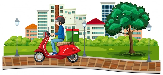 Велосипедист или курьер, едущий по городу