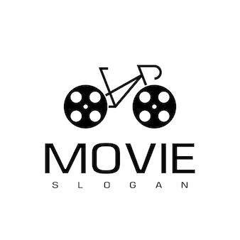 자전거 영화 또는 영화 로고 디자인 벡터