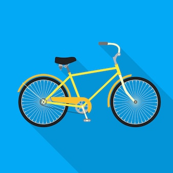 青色の背景に自転車。自転車