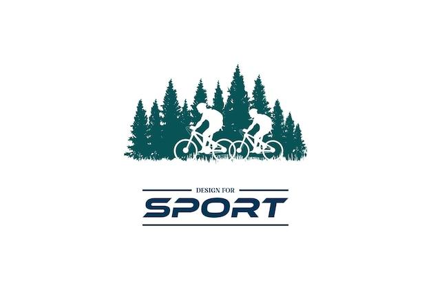 スポーツクラブのロゴデザインベクトルのための松杉針葉樹モミ常緑樹林と自転車または自転車