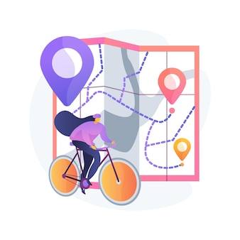 Bike paths network abstract concept illustration