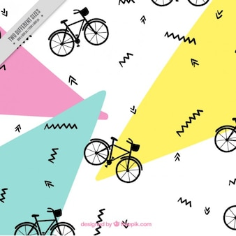 Bike pattern in memphis style