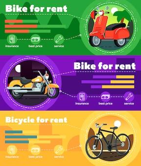 Bike for rent banner set in flat design