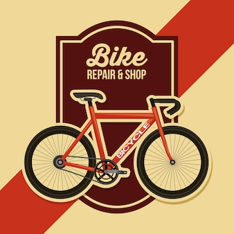 Bike repair and shop poster retro