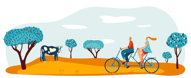 Bike ride at garden park vector illustration man woman couple character at tandem bicycle walk healthy lifestyle at outdoor field
