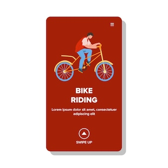 Bike riding on road man cyclist athlete vector. young boy bike riding and have active fun sport time. character guy ride bicycle, enjoying and exercising web flat cartoon illustration