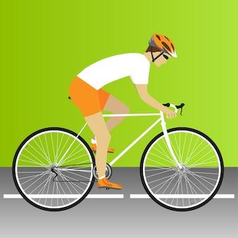 バイク、ロード、バイクレース、サイクリング、自転車、ロードバイクレース。ベクトルイラスト