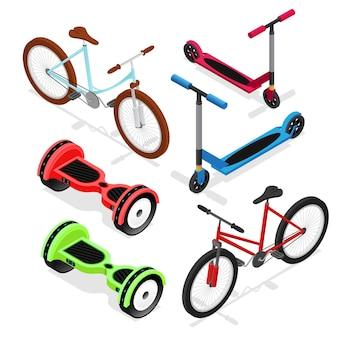 Набор велосипедов, изометрический вид, городской транспорт для отдыха - самокат, гироскутер и велосипед