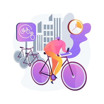 Bike sharing abstract concept illustration