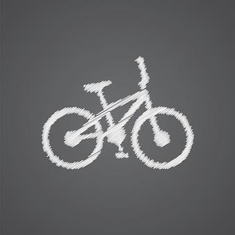 Значок каракули логотипа эскиз велосипеда, изолированные на темном фоне
