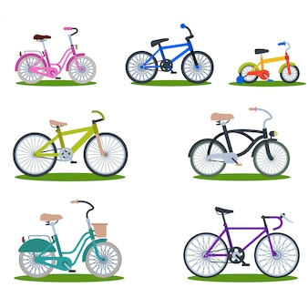 Bike sport bicycles vector transport style old ride vehicle summer transportation illustration