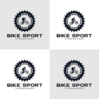 Велосипед спортивный логотип шаблон шестерни и велосипедист