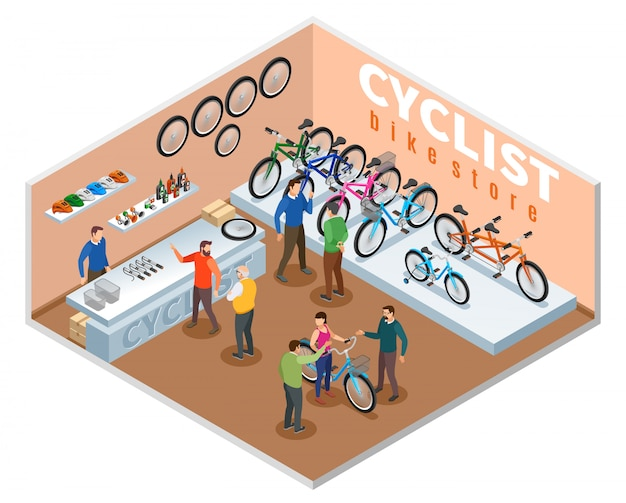 Bike store isometric composition with buyers  and dealer consultant offering bicycle models vector illustration