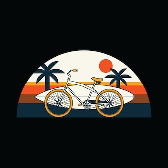 Bike surf summer beach graphic illustration
