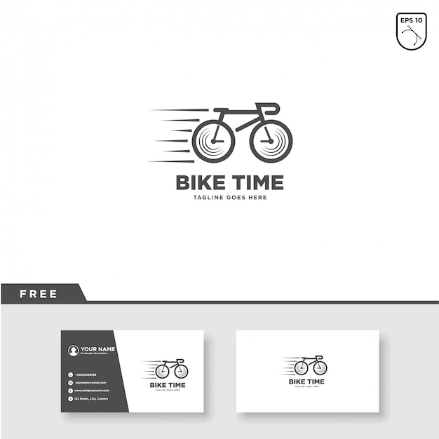 Bike time logo vector and business card template