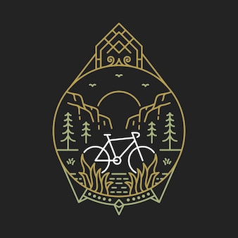Bike to nature2モノラインイラスト