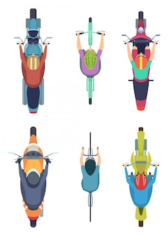 Bike top view. cycling people motorcycles traffic motor bike on road  cartoon collection