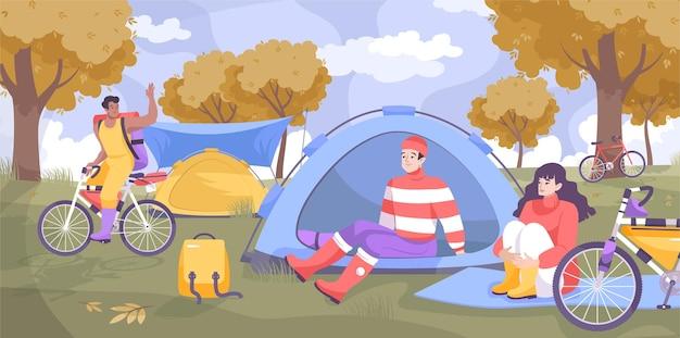 Cicloturismo campeggio concetto piatto con campo per ciclisti dove riposano nel parco