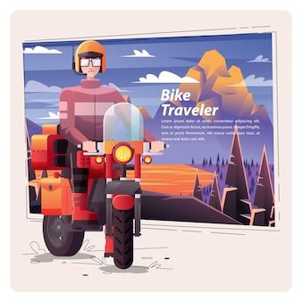 Bike traveler on the road