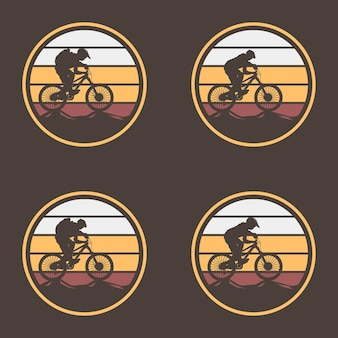Bike vintage logo template gear and cyclist