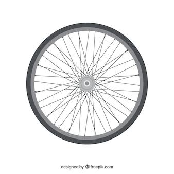 Bike wheel and spokes.