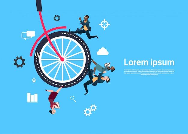 Bike wheel with business people running background template