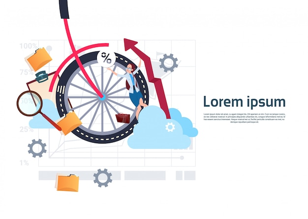 Bike wheel with business woman background template