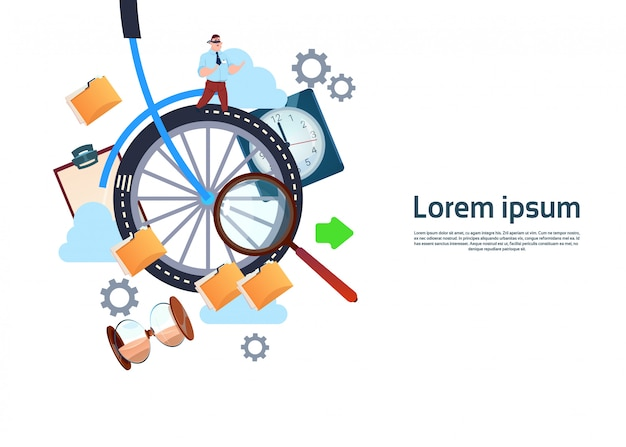 Bike wheel with businessman background template