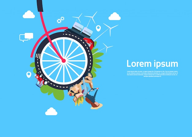 Bike wheel with woman in a scooter background template
