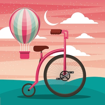 Bike with air balloon basket recreation adventure