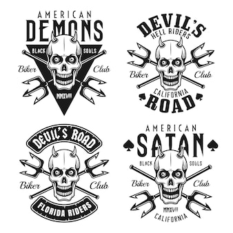Biker club set of black emblems with horned skull isolated on white