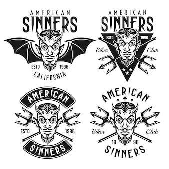 Байкерский клуб набор векторных эмблем, значков, этикеток или футболок с головой рогатого дьявола и текстом американских грешников, изолированных на белом фоне