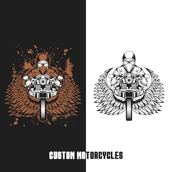 Biker custom motorcycles vector illustration
