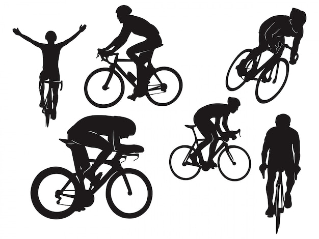 Biker cycling ride road bike celebration black silhouette