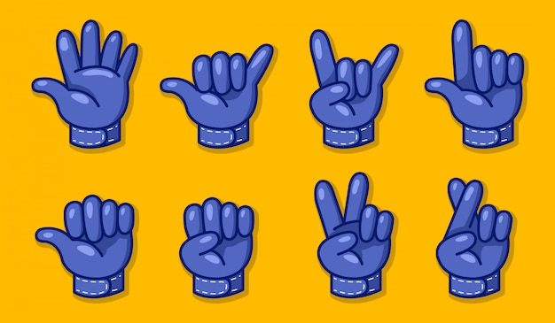 Biker glove hand gesture vector illustration set.