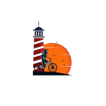 Biker and the lighthouse logo