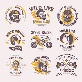 Biker logo  rider motorcycle or bike and speed motorcyclist racer on logotype motor emblem