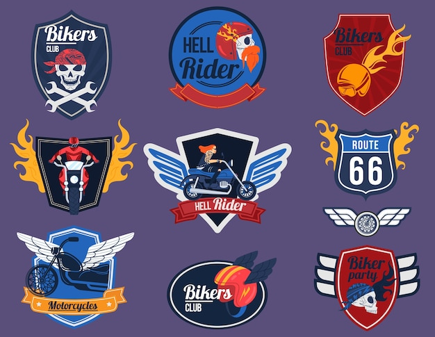 Biker logo vector illustration set, cartoon flat moto club emblem collection of motorcycle with fire flame, skulls and wings badge