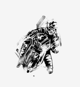 バイクのバイカー。手描きスケッチベクトルイラスト