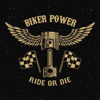 Biker power.piston with wings on dark background.  element for logo, label, emblem,sign, badge,, t-shirt, poster.  illustration