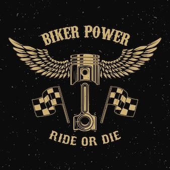Байкер power.piston с крыльями на темном фоне. элемент для логотипа, этикетки, эмблемы, знака, значка, футболки, плаката. иллюстрация