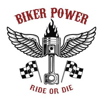 Байкер power.piston с крыльями на светлом фоне. элемент для логотипа, этикетки, эмблемы, знака, значка, футболки, плаката. иллюстрация